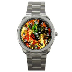 Sunset In A Desert Of Mexico Sport Metal Watch