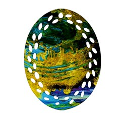 One Minute Egg 4 Oval Filigree Ornament (two Sides)