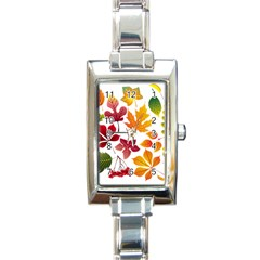 Beautiful Autumn Leaves Vector Rectangle Italian Charm Watch