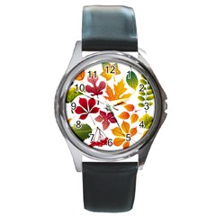 Beautiful Autumn Leaves Vector Round Metal Watch