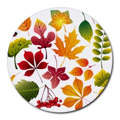 Beautiful Autumn Leaves Vector Round Mousepads by Nexatart