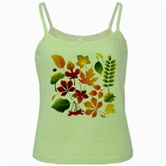 Beautiful Autumn Leaves Vector Green Spaghetti Tank