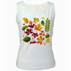 Beautiful Autumn Leaves Vector Women s White Tank Top