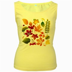 Beautiful Autumn Leaves Vector Women s Yellow Tank Top