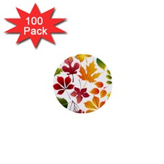 Beautiful Autumn Leaves Vector 1  Mini Buttons (100 Pack)