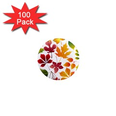 Beautiful Autumn Leaves Vector 1  Mini Magnets (100 Pack)