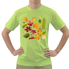 Beautiful Autumn Leaves Vector Green T Shirt