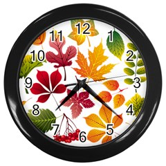 Beautiful Autumn Leaves Vector Wall Clocks (black)