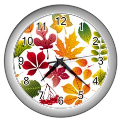 Beautiful Autumn Leaves Vector Wall Clocks (silver)  by Nexatart