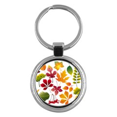 Beautiful Autumn Leaves Vector Key Chains (round)