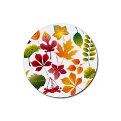 Beautiful Autumn Leaves Vector Rubber Round Coaster (4 Pack)  by Nexatart