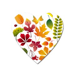 Beautiful Autumn Leaves Vector Heart Magnet