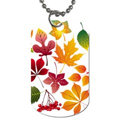 Beautiful Autumn Leaves Vector Dog Tag (one Side)