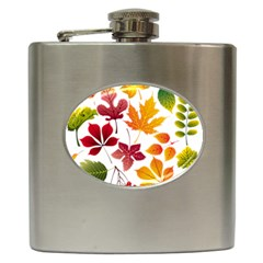 Beautiful Autumn Leaves Vector Hip Flask (6 Oz)