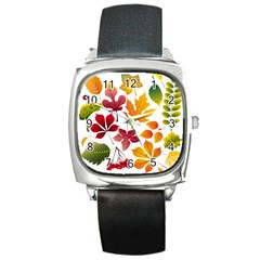 Beautiful Autumn Leaves Vector Square Metal Watch