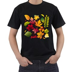 Beautiful Autumn Leaves Vector Men s T Shirt (black) (two Sided)