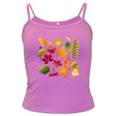 Beautiful Autumn Leaves Vector Dark Spaghetti Tank