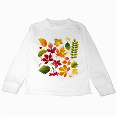 Beautiful Autumn Leaves Vector Kids Long Sleeve T Shirts
