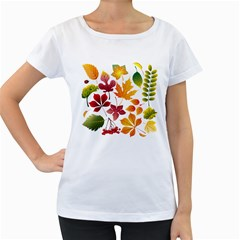 Beautiful Autumn Leaves Vector Women s Loose Fit T Shirt (white)