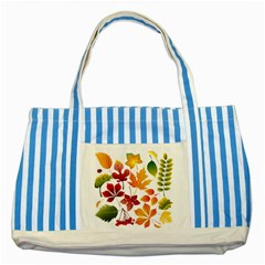 Beautiful Autumn Leaves Vector Striped Blue Tote Bag