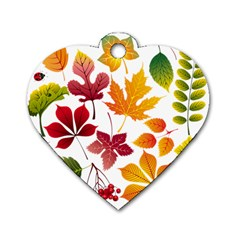 Beautiful Autumn Leaves Vector Dog Tag Heart (one Side)