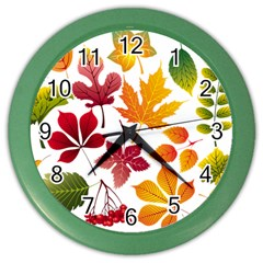 Beautiful Autumn Leaves Vector Color Wall Clocks