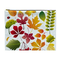 Beautiful Autumn Leaves Vector Cosmetic Bag (xl)