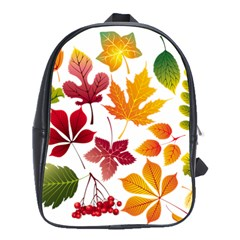 Beautiful Autumn Leaves Vector School Bag (large)