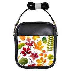 Beautiful Autumn Leaves Vector Girls Sling Bags