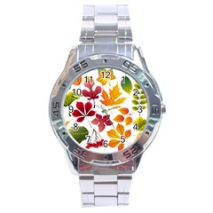 Beautiful Autumn Leaves Vector Stainless Steel Analogue Watch