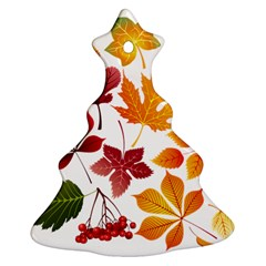 Beautiful Autumn Leaves Vector Christmas Tree Ornament (two Sides)