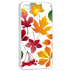 Beautiful Autumn Leaves Vector Apple Iphone 4/4s Seamless Case (white)