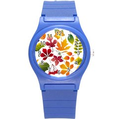 Beautiful Autumn Leaves Vector Round Plastic Sport Watch (s)