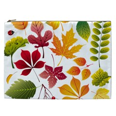 Beautiful Autumn Leaves Vector Cosmetic Bag (xxl)