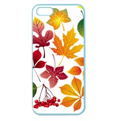 Beautiful Autumn Leaves Vector Apple Seamless Iphone 5 Case (color)