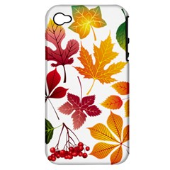 Beautiful Autumn Leaves Vector Apple Iphone 4/4s Hardshell Case (pc+silicone)