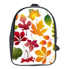 Beautiful Autumn Leaves Vector School Bag (xl)
