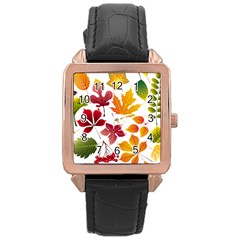 Beautiful Autumn Leaves Vector Rose Gold Leather Watch