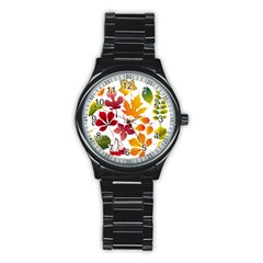 Beautiful Autumn Leaves Vector Stainless Steel Round Watch