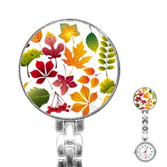 Beautiful Autumn Leaves Vector Stainless Steel Nurses Watch