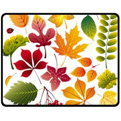 Beautiful Autumn Leaves Vector Double Sided Fleece Blanket (medium)