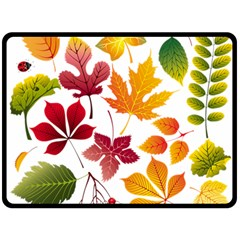 Beautiful Autumn Leaves Vector Double Sided Fleece Blanket (large)