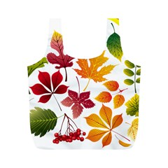 Beautiful Autumn Leaves Vector Full Print Recycle Bags (m)