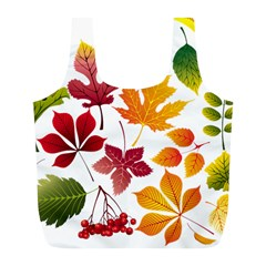 Beautiful Autumn Leaves Vector Full Print Recycle Bags (l)
