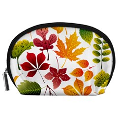 Beautiful Autumn Leaves Vector Accessory Pouches (large)