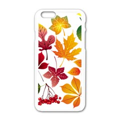 Beautiful Autumn Leaves Vector Apple Iphone 6/6s White Enamel Case