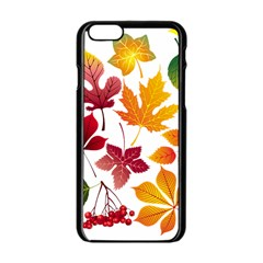 Beautiful Autumn Leaves Vector Apple Iphone 6/6s Black Enamel Case