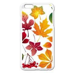 Beautiful Autumn Leaves Vector Apple Iphone 6 Plus/6s Plus Enamel White Case
