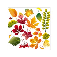 Beautiful Autumn Leaves Vector Small Satin Scarf (square)