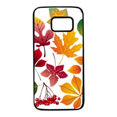 Beautiful Autumn Leaves Vector Samsung Galaxy S7 Black Seamless Case